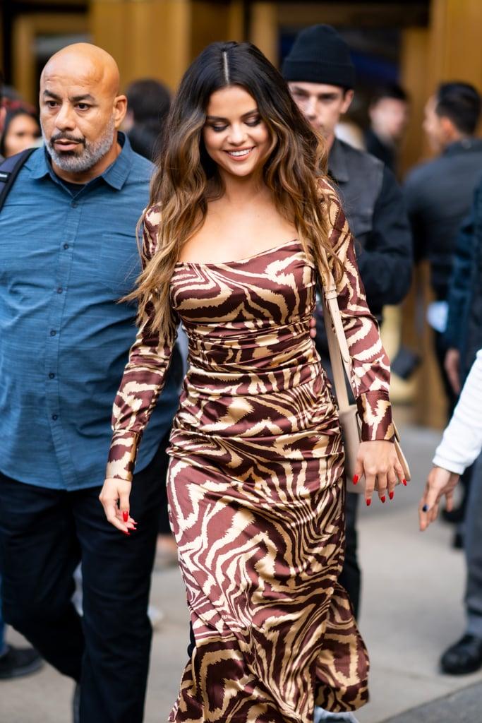 Selena Gomez Wearing a Tiger-Print Ganni Dress