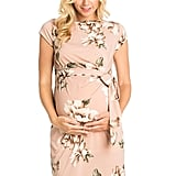 My Bump Women's Side Bow Tie Pattern Cap Sleeve Maternity Dress