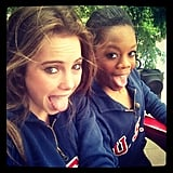 McKayla Maroney and Gabby Douglas snapped a silly shot. Source: Instagram user mckaylamaroney