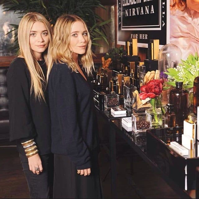 Mary-Kate and Ashley Olsen showed off their first foray into fragrance: Nirvana.  Source: Instagram user elizandjames