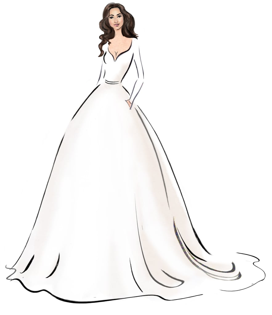 meghan markles wedding dress sketches popsugar fashion