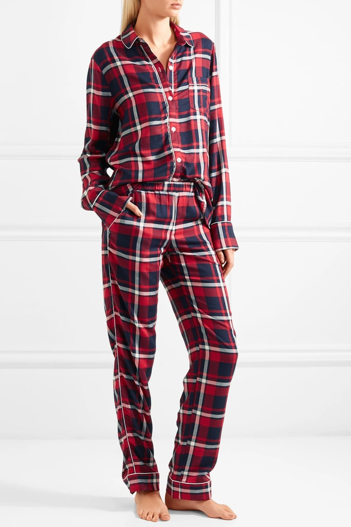 Three J NYC Checked Cotton-Flannel Pajama Set
