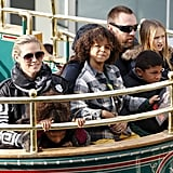 Heidi Klum and her boyfriend, Martin Kristen, took her four kids — Leni, Henry, Johan, and Lou Samuel — on a trolley ride at The Grove in LA on Saturday.