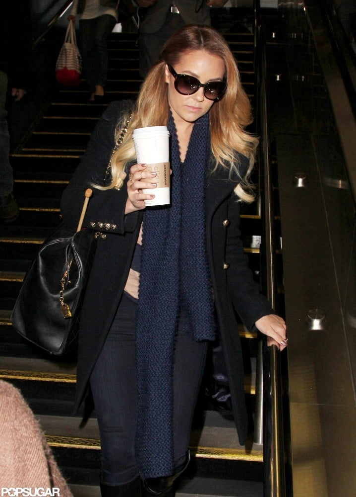 Lauren Conrad left NYC with a coffee in hand.