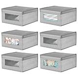 mDesign Soft Stackable Fabric Closet Storage Organizers