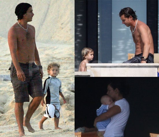 Photos of Gavin Rossdale and Kingston Rossdale on the Beach in Hawaii