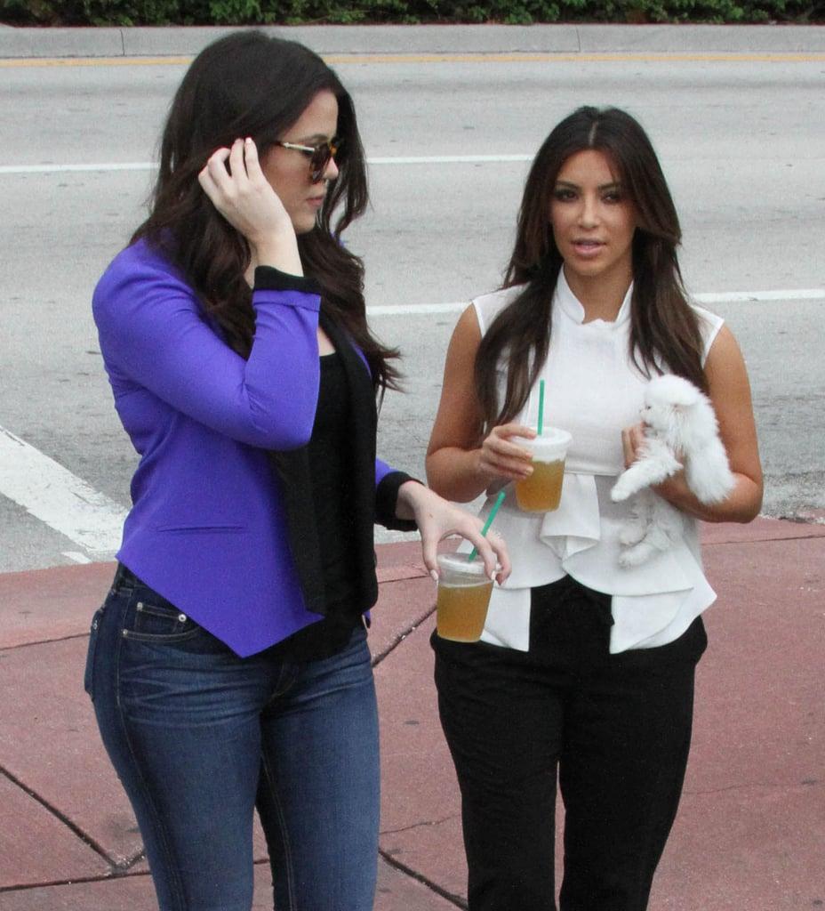 Kim and Khloe Kardashian took Mercy for a walk.