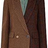 Andersson Bell Olga Asymmetric Paneled Checked Wool and Alpaca-Blend Blazer