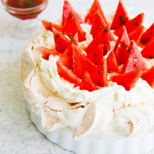 ​Spinneys' Watermelon Pavlova With Lime Cream and Mint Syrup​
