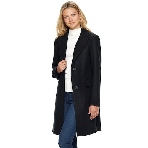 Nine West Single-Breasted Wool Blend Walker Jacket