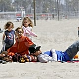 Nicole Richie and Joel Madden relaxed while Harlow and Sparrow ran around on the beach in Malibu for Easter.