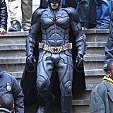 Christian Bale as Batman on the set of The Dark Knight Rises