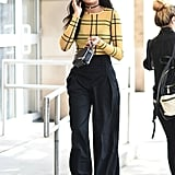 Tuck a Checkered Top Into a Pair of Wide-Leg Trousers