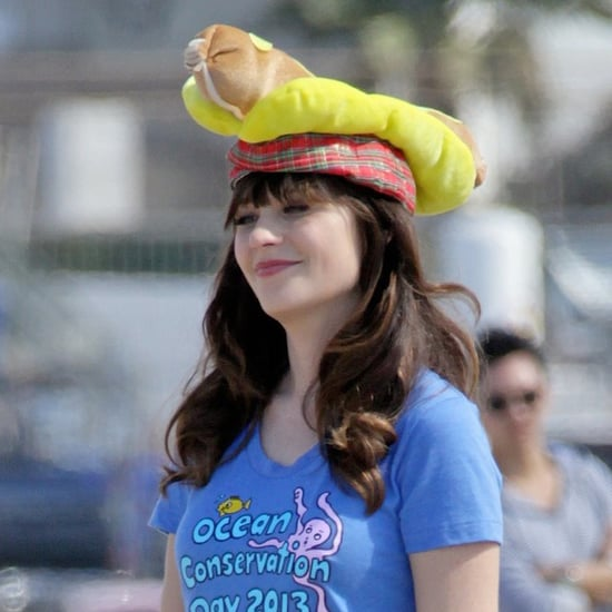 Zooey Deschanel and Max Greenfield on the New Girl Set