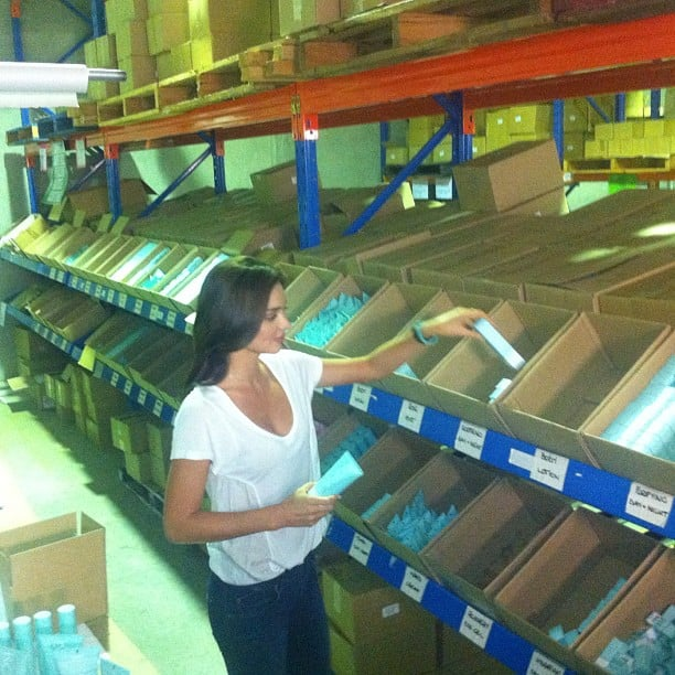 Miranda Kerr checked out the Kora Organics warehouse.  Source: Instagram user mirandakerrverified