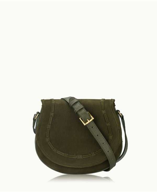 GiGi New York Jenni Saddle Bag In Olive French Nubuck Suede