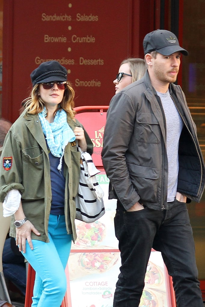 Drew Barrymore bundled up, but stood out in bright blue pants for a walk around Paris with fiancé Will Kopelman today. It's the second afternoon in a row of sightseeing in France for Will and Drew, who arrived in the city of lights earlier this week. Even before visiting one of the most romantic spots in the world, it's already been a love-filled 2012 for the happy couple. Drew and Will announced their engagement in January, and there have been rumblings of pregnancy rumors in recent weeks. Drew has yet to address any of those stories, but she and Will did already add to the family when they adopted a puppy a couple months back.