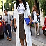 Keep it simple and chic like Shiona Turini and simply add a sleek, lightweight coat to a tee and a slim pencil skirt.