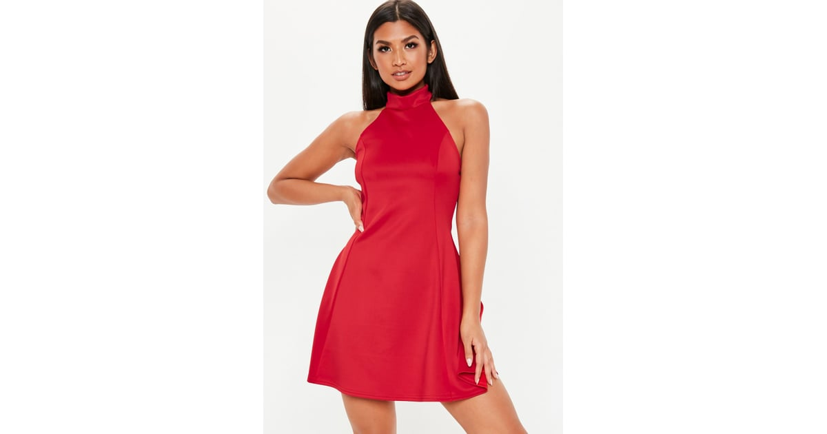 aff258094a02 Missguided Red High Neck Open Back Skater Dress | Selena Gomez Red Bridal  Shower Dress January 2019 | POPSUGAR Fashion Photo 6
