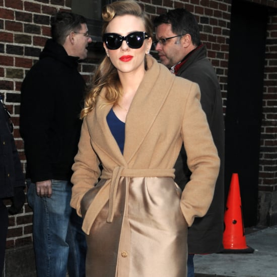 Scarlett Johansson Wearing Camel Max Mara Coat