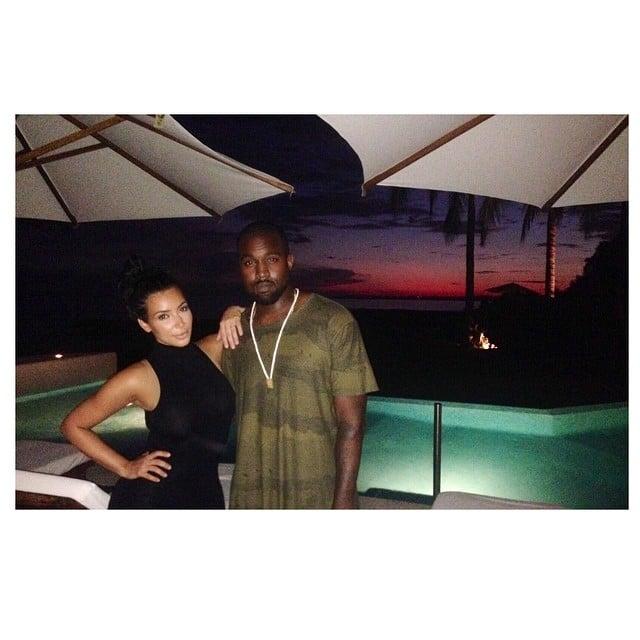 Kim Kardashian posed with Kanye West while on vacation.  Source: Instagram user kimkardashian