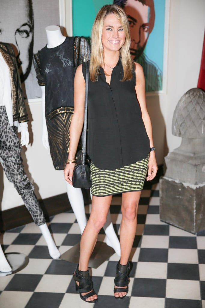 Amanda Hearst took in the Voyage collection wearing a printed pencil skirt.