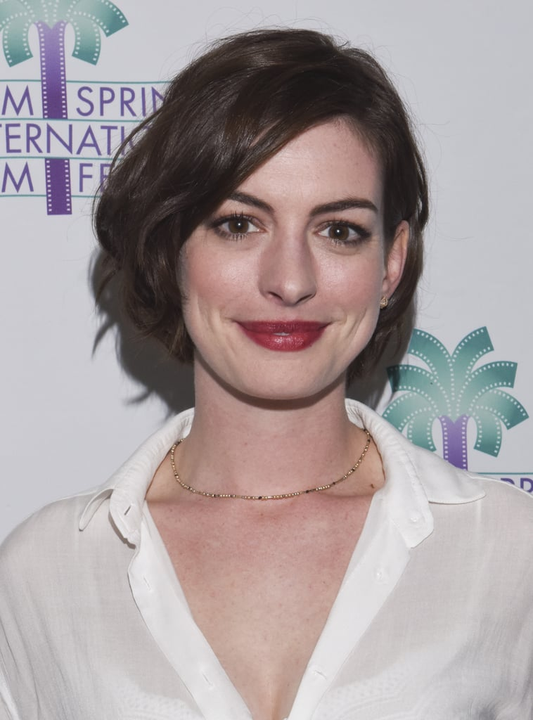 Anne Hathaway Celebrity Hair And Makeup January 5 2014 Popsugar