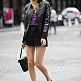 Joanna Hillman showed off a chic pair of shorts with a sporty jacket and peep-toe booties. Source: Greg Kessler