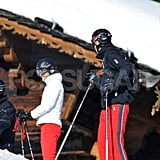 Prince William and Kate Middleton both wore bright red ski pants while on vacation in France.