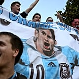 In Rio de Janeiro, Brazil, Argentina fans held up giant banners to show their support.