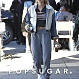 Hailey Baldwin Wearing a Crop Top and Sweatpants