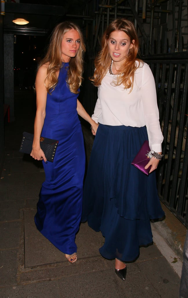 Cressida Bonas held hands with her ex Prince Harry's cousin, Princess Beatrice, after a glamorous party at Annabel's in London.