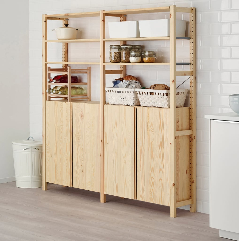 Ivar 2-Section Shelving Unit With Cabinet