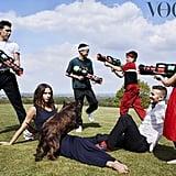 Victoria, David, Brooklyn, Romeo, Cruz, Harper, and Olive the Cocker Spaniel
