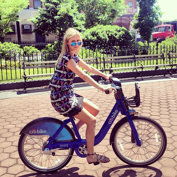 Nicky Hilton looked cute and summery while trying out NYC's latest form of transportation, CitiBike. Source: Instagram user nickyhilton