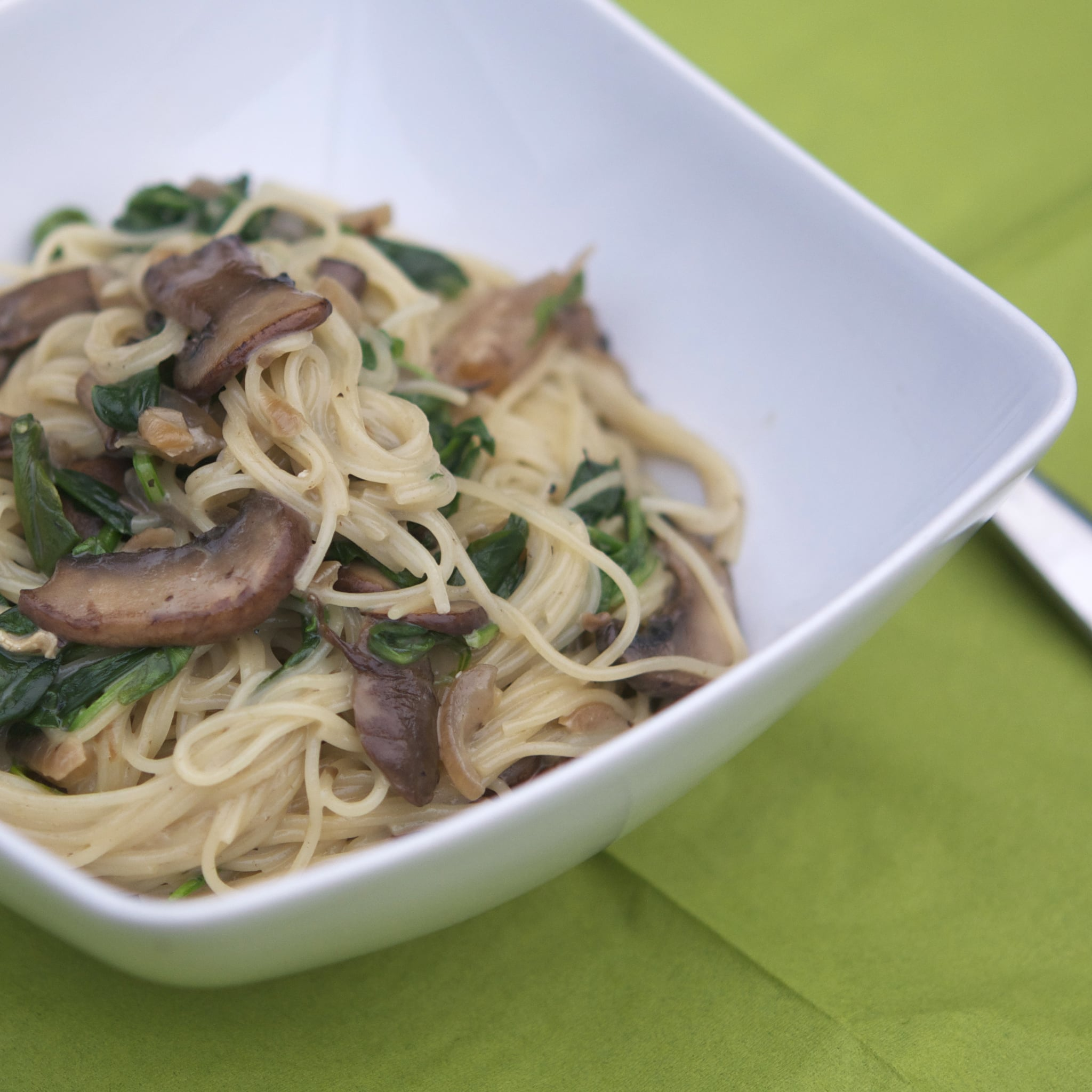Angel Hair Pasta With Brie Sauce Mushrooms Spinach And Onions