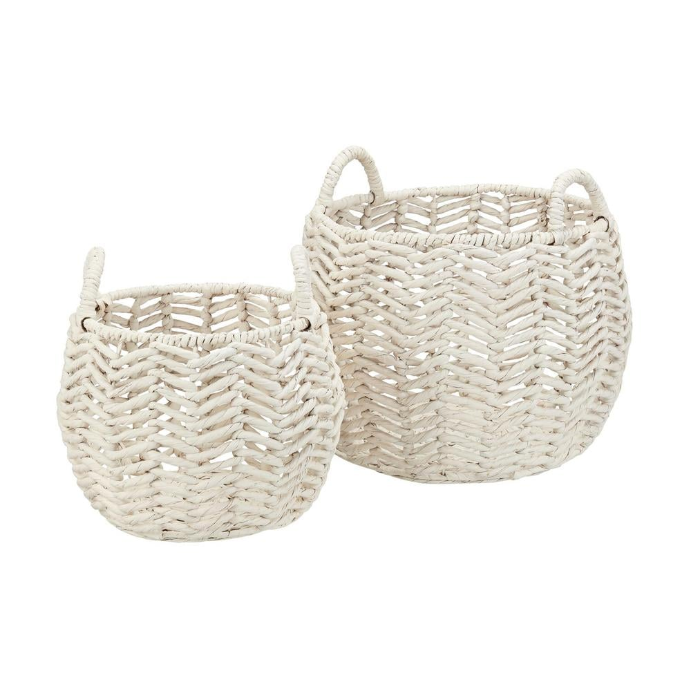 StyleWell Ivory Round Water Hyacinth Decorative Basket With Handles