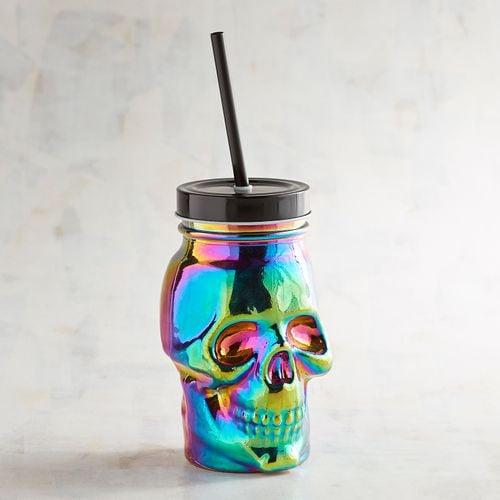 Skull Travel Tumbler with Straw