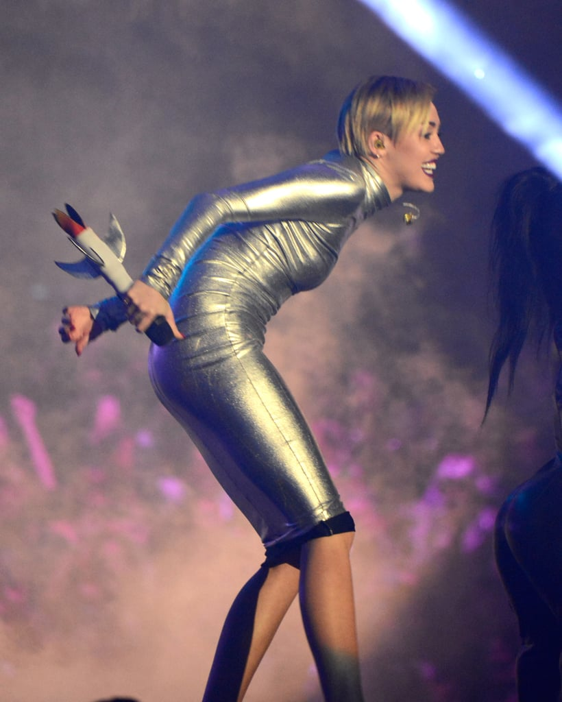 "Miley Cyrus sported a space-age look for her ""We Can't Stop"" performance."