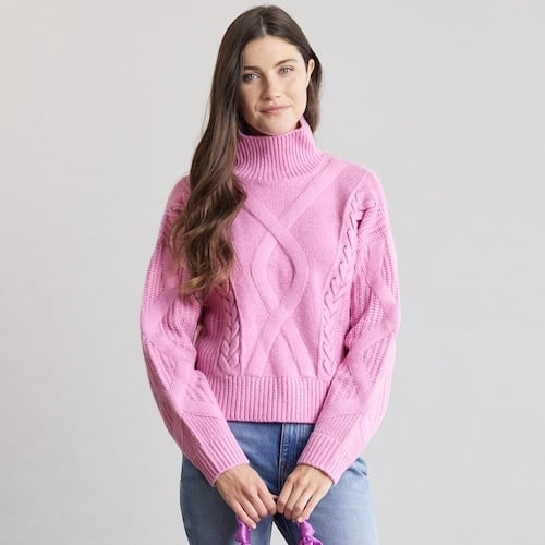 Elizabeth and James Cable-Knit Turtleneck Sweater