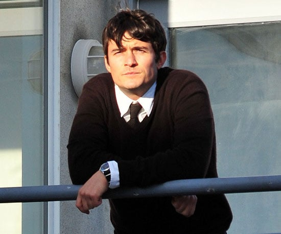 Slide Photo of Orlando Bloom on the Set of The Good Doctor Wearing a Tie