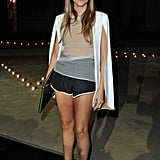 Gaia Repossi gave into the sporty trend — but with a cocktail twist — as evidenced by her high-waisted track shorts and slick white blazer.
