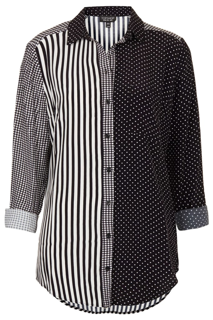 Want to cross off Fall 2013's biggest trends in one wear? This mix-match printed shirt from Topshop ($76) combines a few runway staples that always work: black-and-white and mixed prints. Both stripes and polka dots do so well on their own — why not splice them together? — KS
