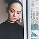 """Here's a close up look at the makeup I created for Jesinta Campbell for the Vera Wang show. The look was edgy yet understated. I used a Beauty Blender to create a flawless base, along with MAC Cosmetics Strobe Cream ($55) and Mineralize Skinfinish in Soft & Gentle ($47) swept across the tops of the cheekbones for glowing skin."""