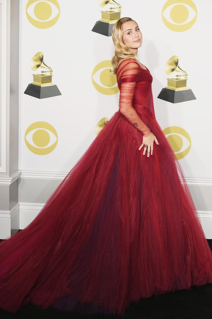 Miley Cyrus Wearing Red Gown at Grammys 2018 | POPSUGAR Fashion