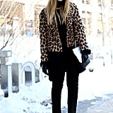 Use the leopard coat to add glamour. Not only does it lend sophistication, but also, it helps break up an all-black outfit.