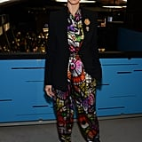 Heidi Klum's colorful kaleidoscope jumpsuit brought major color to the Project Runway catwalk.