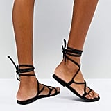 ASOS Flow Leather Tie Leg Sandals