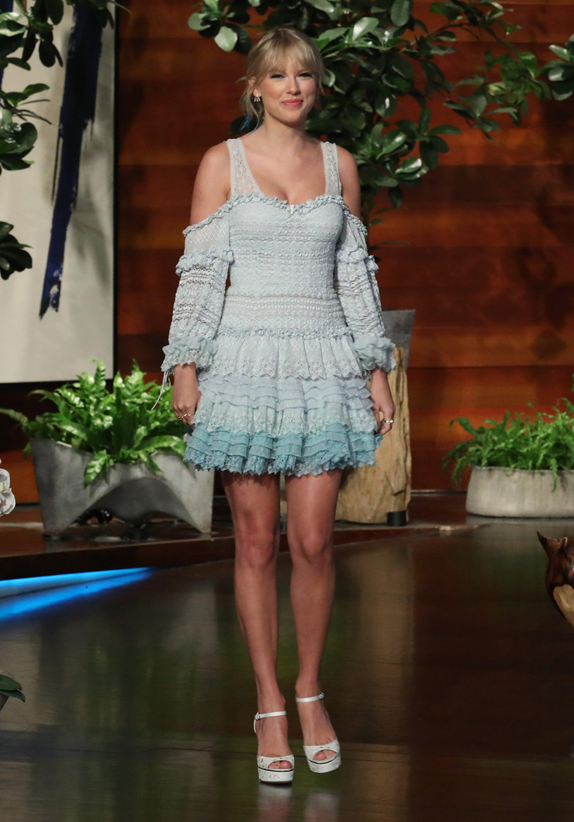 Taylor Swift Blue Jonathan Simkhai Dress On Ellen Popsugar Fashion