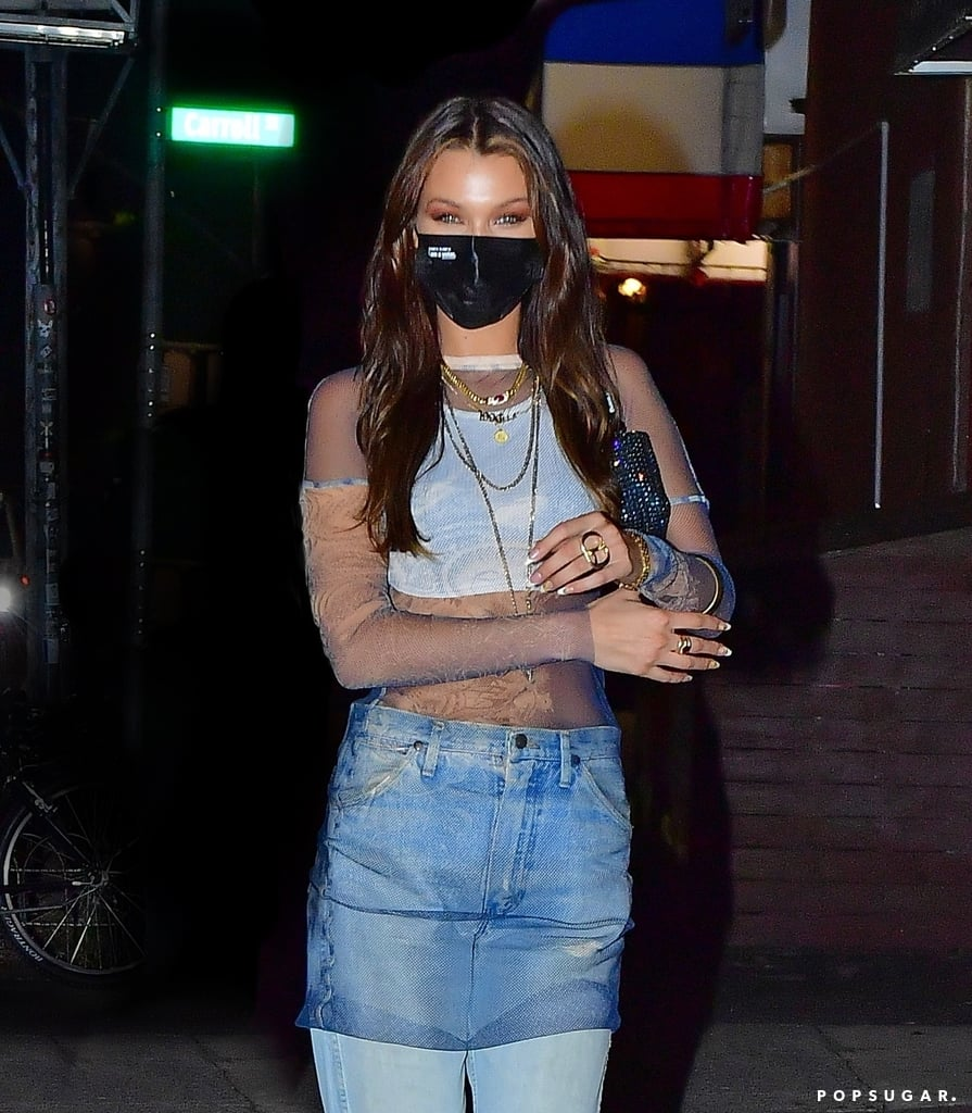 Bella Hadid Wore a Sheer Shirt For Her 24th Birthday Dinner